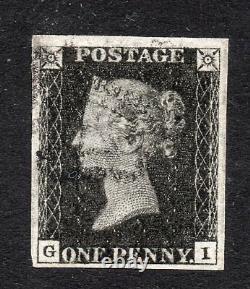 1840 Penny Noir Sg 2 Plaque 9 (g I) 1d Noir Très Grande Marge Exemple