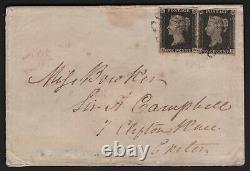 1840 Qv Deux Sg2 1d Penny Blacks Assiette 6 Sur Cover To Exeter CV £1150++ Très Rare