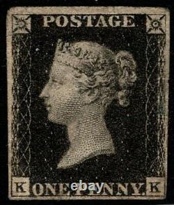 1840 Qv Sg1 1d Penny Black Plate 5 Fine Menthe Og 4 Marges CV 12 500 $ Rare