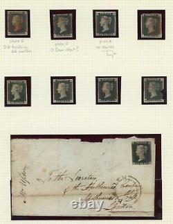 1840 Remarquable Collection Original De 74 Blacks Penny+ 3 X 2d Blues Avec Couvercles