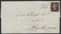 1840 Sg2 1d Black Plate 2 Monkwearmouth Penny Post À Hartlepool (kf)