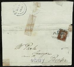 1841 1d Red Pl 24 ID 4m Blue Cross Et Poulton Penny Post Preston Utilisent Cat. £1800 (en)