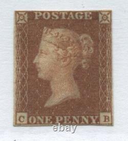 1841 Penny Red Cb Sur Beau Papier Lavande (ivory Head On Rev) Inutilisé 4 Marges