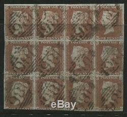 1841 Penny Red Plate 66 Bloc Utilisé De 12 Nd-pg Tout Frappé Par Dublin 186 Diamants