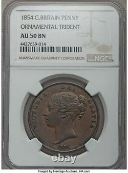 1854 Victoria Penny Ot Ngc Au50 Bn Ornement Trident Grande-bretagne S-3948