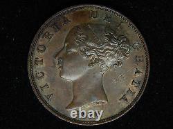 1856 Grande-bretagne 1/2 Penny Double Die Averse Erreur Au/unc