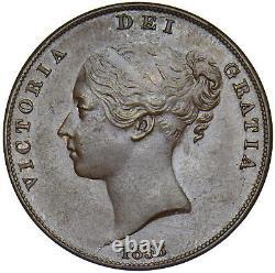 1858 Penny (8 Sur) Victoria British Copper Coin Très Nice