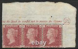 1858 Sg 43 1d Penny Red Plaque 171 Lettered A/j A/l Bande De 3 Mint Unmounted