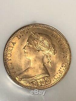 1860 Grande-bretagne 1 / Penny Copper Coin 2p Ngc Mme 66 Red Brown 1 Rb Dans Pop