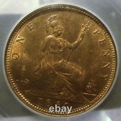1860 Grande-bretagne Penny Ms 65 Rb Rare Double Die Averse