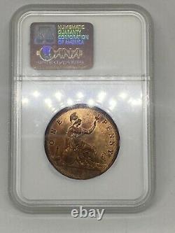 1863 Grande-bretagne Victoria 1p Penny Coin Ms 65 Rd Red Rare! 3 En Pop