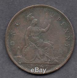 1867 Grande-bretagne La Reine Victoria 1j / Un Penny Pièce