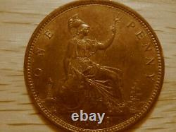 1869 Victorian Penny De Grande-bretagne, Gef Condition! , Très Rare! F-59 (f-59)