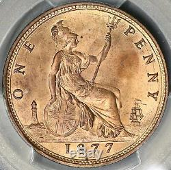 1877 Pcgs Ms 64 Rd Victoria Penny Grande-bretagne Rouge Coin Pop 2/1 (16080101d)