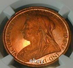 1895 Grande-bretagne One Penny Ngc Ms 66 Rd Rare Dans Cette Catégorie! (352)
