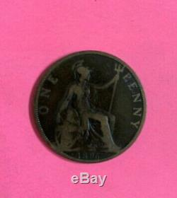 1896 One Penny 1d Tête Veiled Coin Reine Victoria Grande-bretagne