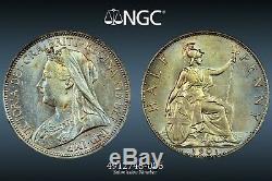 1901 Grande-bretagne 1/2 Half Penny Ngc Ms62bn Bu Couleur Noir Et Blanc Gem Unc (dr)