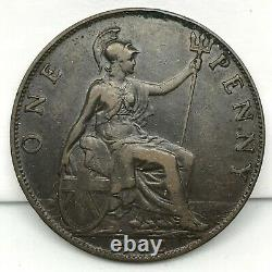 1902 Grande-bretagne-edward VII Pièce En Bronze D'un Penny- Km# 794.1