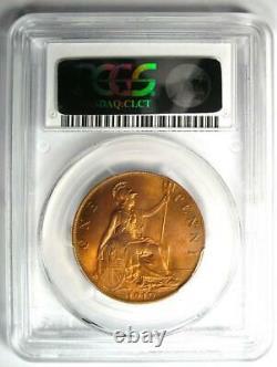 1910 Grande-bretagne Edward VII Penny 1d Pcgs Ms65 Rd (red Bu Unc) Rare Grade