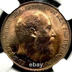 1910 Grande-bretagne Half Penny Ngc Ms64 (ch. Unc) Only 5 Higher