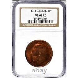 1911 Grande-bretagne 1 Penny, Mbac Ms 65 Rd, Rouge, Aucun Plus Fin Au Mbac