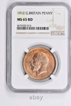 1912 Grande-bretagne 1 Penny Ngc Ms 65 Rd Witter Coin