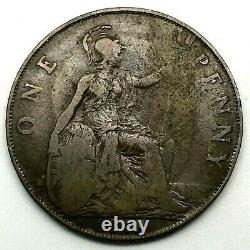 1918 H Grande-bretagne- George V One Penny Bronze Coin- Km# 810 Rare