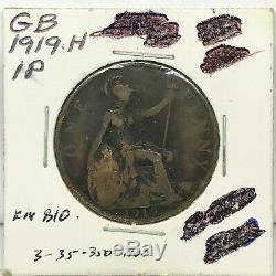 1919 H Great George V Un Bretagne- Penny Bronze Coin- Km # 810 Rare
