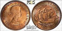 1967 Grande-bretagne 1/2 Demi Penny Pcgs Ms64rd Rainbow Color Toned Coin