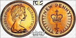 1971 Grande-bretagne Moitié 1/2 New Penny Pcgs Pr67rd Toned Coin Aucun Classé Plus Haut