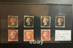 4 X Gran Bretagna 1840 Penny Noir + 3 X Penny Rouge