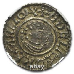 (978-1016) Grande-bretagne Argent Penny Aethelred II Au-50 Ngc Sku#219638
