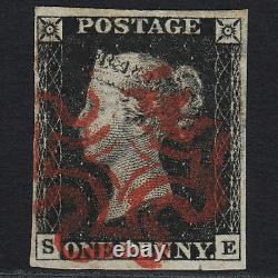 A1 GB Qv 1840 1d Penny Black Plate 4 Sg2-a1(2) Se Gu 4 Margins Superb Red MX