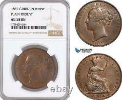 Af187, Grande-bretagne, Victoria, Penny 1855, Monnaie Royale, Plain Trident Ngc Au58bn