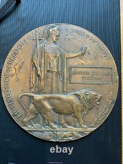 Britannique Ww1 Plaque Commémorative Mort Plaque Mort Penny Sinclair R Welsh Fus