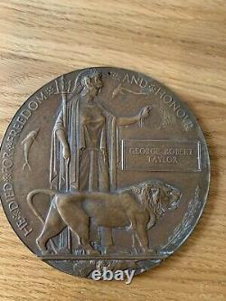 Britannique Ww1 Plaque Commémorative Plaque Mort Mort Penny Taylor