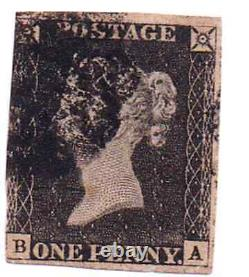 GB #1 Penny Black Qv 1840 Maltene Annuler Lettres A-b 1er Timbre Du Monde 425 $