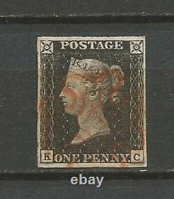 GB 1840 1d Penny Noir 4 Bonnes Marges Superbes K-c Victoria Sg1 Uk02