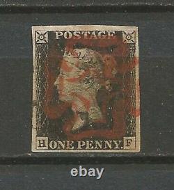 GB 1840 1d Penny Noir 4 Grandes Marges Superbe H-f Victoria Sg1 Uk01