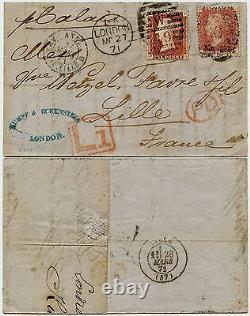 GB 1871 À France Frais De Retard Penny Reds Pl 106 + 109 Kumpf + Lettre Eckenstein