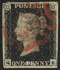 GB Penny Black 4 Big Margins Avec Croix-rouge Maltaise (cv £425+)