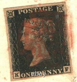 GB Penny Black Cover Mulready Caricature 1840 Lesage Clerical Envelope Cert A4g3
