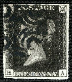 GB Penny Black Qv Sg. 3 1840 1d Plate 5 (ha) State 2 Re-entry Cat £1100+ Ored88