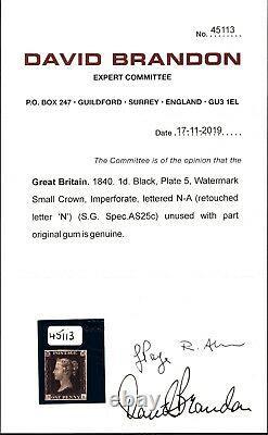 GB Penny Black Qv Timbre Sg. 2 1840 1d Plaque 5 (na) Menthe VLMM C£12,500+ Cert Gold7
