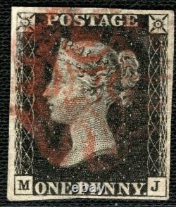 GB Penny Black Qv Timbre Sg. 2 1840 1d Plaque 7 (mj) Rouge Utilisé MX Cat £400- Xred5