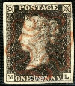 GB Penny Black Qv Timbre Sg. 3 1840 1d Plaque 1a (ml) Superbe Orange MX Gred38