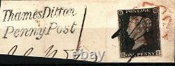 GB Penny Black Sg. 2 Plaque 2 (hc) Pen Cancel Thames Ditton Penny Post Piece Ss437