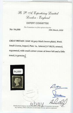 GB Penny Noir, Pl. 1a, Mi. 1c, Sg3 Ungebratucht Inutilisé, Atteste Bpa Kr907057