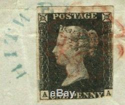 GB Penny Noir (aa) Bright Bleu Undated Whitwell Annuler 1840 Rare Yblue5
