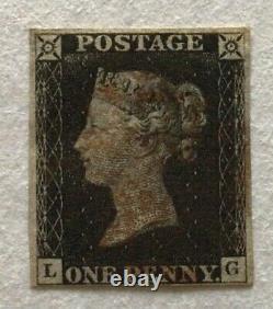 GB Queen Victoria Line Gravé 1840 Penny Noir Quatre Marges Utilisées Sg2 (cat £375)